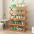 No Installation Bamboo Ladder Shelf Plant Stand Flower Rack Bookshelf Shoes Rack