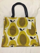Orla Kiely Pear Tote Bag Yellow Fruit Tesco 2016 Shadow White Gift Jute Brown