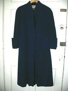 Ilie Wacs Designer WACS WORKS ROYAL BLUE FULL LENGTH WOOL COAT Vintage