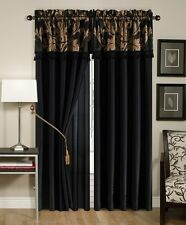 Royale Jacquard Floral Window Curtain/Drape Set Sheer Backing Valance Black/Gold