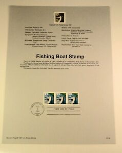 First Day Cover USPS Official Souveneir Page - # 2529 Fishing Boat