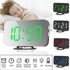 Digital LED Table 3D Wall Clock Large Display USB Alarm Clock Brightness Dimmer