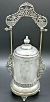 Antique Pickle Castor Silver plate with Pattern Glass insert