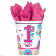 18 Sweet Pink Butterfly Girl's 1st Birthday Party Disposable 9oz Paper Cups