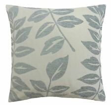 """MODERN FLORAL LEAF LEAVES DUCK EGG BLUE THICK CHENILLE CUSHION COVER 18"""" - 45CM"""