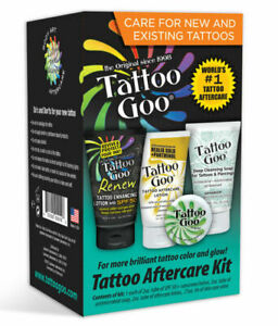 Tattoo Goo Aftercare Kit 4pcs. Cleansing Soap, Salve, Lotion, Sunscreen NEW