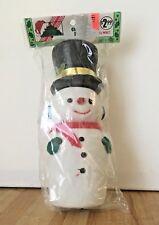 "Vintage 8"" Flocked Snowman Figurine Christmas Decoration NEW"