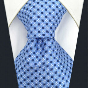 SHLAX&WING Ties for Men Blue Dots Business Mens Neckties Silk for Suit