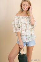 Umgee Layered Ruffle Off Shoulder Floral Print Top - Women's Shirt Blouse