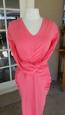 NEW Emage Coral Pink Sexy Ruched Stretchy Bodycon V Neck Midi Dress - M
