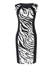 "SIA"" GORGEOUS SOFT LADIES ANIMAL PRINT SPLICED SIZE 10-12 PENCIL DAY DRESS WORK"