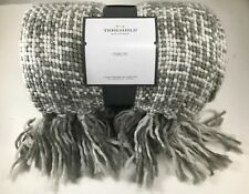 "Threshold Woven Throw Blanket Marled Gray  60"" x 50"" Acrylic Fringe NWT"