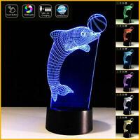 DELFINO in 3D con palla Lampada led 7 colori da scrivania Ideale per cameretta b