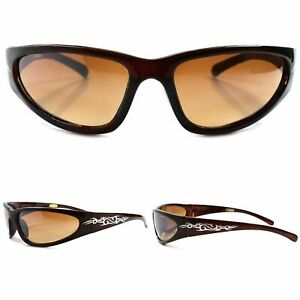 Golf Brown Cool Sport Motorcycle Biker Cycling Running Wrap Around  Sunglasses