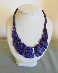 Vintage Artisan Genuine Amethyst Gemstone Bead Drop Bib Necklace