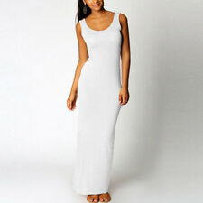 Summer Women Sleeveless Plain Color Long Maxi Dress Casual Slim Tank Dresses