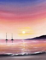 SARAH FEATHERSTONE, ORIGINAL ART WATERCOLOUR PAINTING, Evening Sunset, Boats