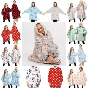 Adult Kids Winter Soft Comfy Nightware Fleece Blanket Hoodie Hoody Pullover AU