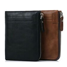 Portafoglio bifold in pelle con tasca con cerniera per finestra ID con blocco