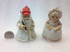 Collectible Mr and Mrs Santa Clause Bells Ornaments Signed Don Warning