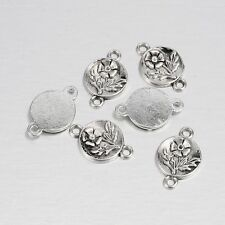 20pcs Alloy Jewelry Links Connectors Antique Silver Flat Round with Flower Craft