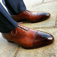 Chaussures à lacets en cuir véritable marron pour hommes