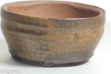 "Bonsai pot ""en grès Shigaraki marron rond petit"" d11.5 cm japonais"
