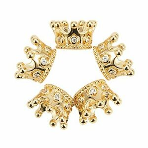 10 Pcs Cubic Zirconia Pave King Crown Beads Connector Spacer Beads Loose Beads