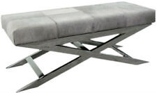 Handmade Designer Gray Hairy Leather Bench