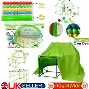 174Pcs DIY Construction Fort Building Castles Tunnels Tents Kit Kids Play House
