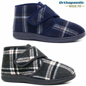 MENS DIABETIC ORTHOPAEDIC EASY CLOSE WIDE FITTING ANKLE SLIPPERS BOOTS SHOES SIZ