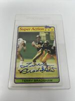 Terry Bradshaw HOF Pittsburgh Steelers Autographed 1981 Topps Super Action Card