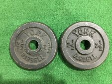 "VINTAGE YORK BARBELL 2.5 LBS PAIR STANDARD 1"" PLATES PLATE WEIGHT 2 1/2 LBS EACH"