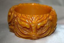 Gold Bakelite Carved Bracelet
