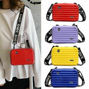 Hard Shell Cosmetic Bag, Women Mini Suitcase Shape Crossbody Bag Durable PU
