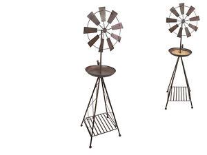 1pce 105cm Windmill Bird Bath Feeder Rustic Finish Outdoor Garden Metal Stand