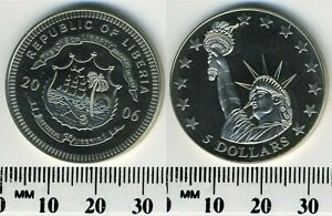Liberia 2006 - 5 Dollars Copper-Nickel Coin - Statue of Liberty - National Arms