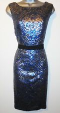 Butterfly by Matthew Williamson Blue & Silver Sequin Evening Occasion Dress 16