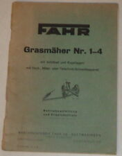 Betriebsanleitung / Teilekatalog für Fahr Grasmäher Nr.1-4