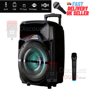 Wireless Bluetooth Stereo Super Bass Trolley Speaker 15 Inch with Mic Lights