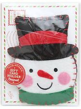 Fieltro Colgante Navidad Ornamento cheque Dinero tarjeta de regalo ~ Muñeco de nieve