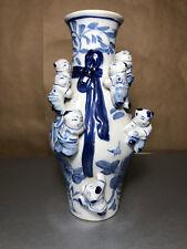 "Antique 10"" Pottery 7 Seven Children Fertility Jug Jar Vase In Blue & White"