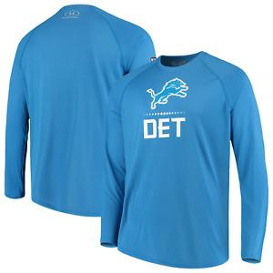 Under Armour UA Mens NFL Detroit Lions Combine Authentic LS T-Shirt (Blue, M, L)