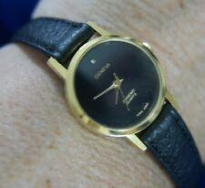 GENEVA DIAMOND BLACK LEATHER BAND GOLD TONE watch, new battery, WORKS A15