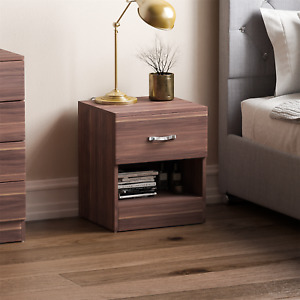 Riano Chest Of Drawers Walnut 1 Drawer Bedroom Furniture Wooden Bedside Storage