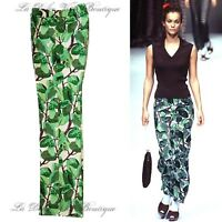 DOLCE & GABBANA vintage 1997 green floral print trousers size UK 6 US 2 38 DG