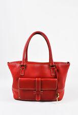 "Loro Piana Red Grained Leather White Stitch Trim Top Handle Shoulder ""Globe"" Bag"