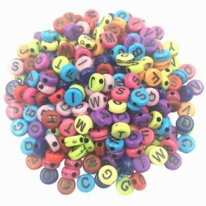 100Pcs Acrylic 5.5mm Cube 7mm Round ALPHABET BEADS DIY JEWELRY MIXED LETTER A-Z