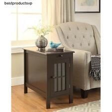 End Table With Storage Accent Side Wood Glass Espresso Chairside Couch Cabinet