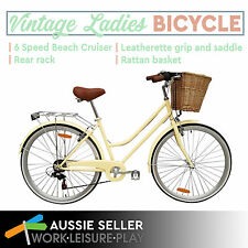Brand New Vintage Retro Ladies Bicycle Bike 6 Speed Beach Cruiser Cream Freight